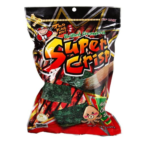 Tao Kae Noi - Super Crisp Grilled SEAWEED with HOT CHILLI SQUID - 6 x 0.84 oz / 24 g - Product of Thailand