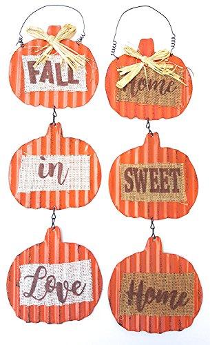 Costume Homemade Crayola (Fall Autumn Harvest Rustic Metal Pumpkin Hanging Decoration - Set of)