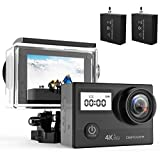 DBPOWER N5 Pro WiFi Action Camera 4K Ultra HD 20MP Sports Camera 30m Underwater Waterproof 170 Degree Adjustable Wide Angle Lens Camcorder with 2 Rechargeable Batteries and Mounting Accessories Kit