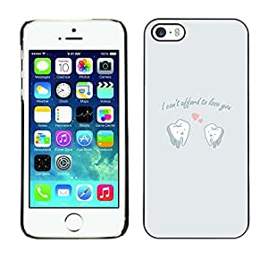 ROKK CASES / Apple Iphone 5 / 5S / FUNNY - CAN'T AFFORD LOVE / Slim Black Plastic Case Cover Shell Armor