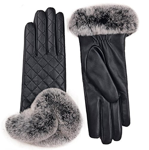 SALY Women's Rabbit Fur Cuff Cashmere Lined Lambskin Leather Gloves, 6 inches