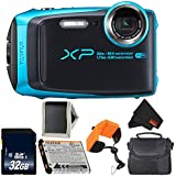 Fujifilm FinePix XP120 Digital Camera (Sky Blue) 600019758 + 32GB SDHC Class 10 Memory Card + FUJI XP RUGGED FLOATING STRAP + Memory Card Wallet + Small Soft Carrying Case Bundle