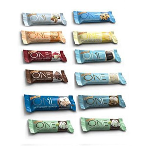 ONE Protein Bar, 12 Flavor Super Variety Pack, 12 Pack, Gluten-Free Protein Bars with High Protein (20g) and Low Sugar (1g), Guilt Free Snacking for Healthy Diets by ONE