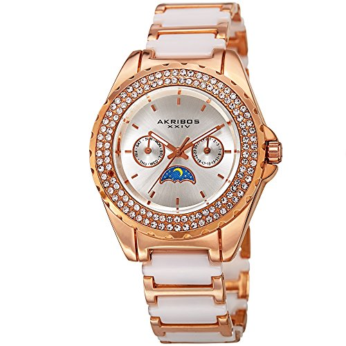 Akribos XXIV Women's Quartz Stainless Steel and Ceramic Casual Watch, Color:Two Tone (Model: ()