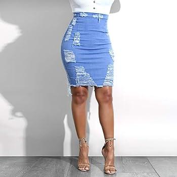 DAY.LIN - Mini Falda Vaquera para Mujer, Cintura Alta, Vaquera ...