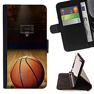 King Air - Premium PU Leather Wallet Case with Card Slots, Cash Compartment and Detachable Wrist Strap FOR LG OPTIMUS L90- Baskeball Love Sport Ball
