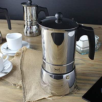 MAGEFESA Genova – La cafetera MAGEFESA Genova está Fabricada en Acero Inoxidable 18/10, Compatible con Todo Tipo de Cocina. Fácil Limpieza (10 Tazas)