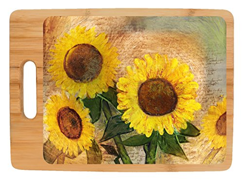 Rustic Kitchen Décor Sunflowers Bouquet Sunflower Kitchen Full Color Rectangle Bamboo Cutting Board (Colours Kitchen Sunflower)