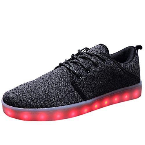 JACKSHIBO Herren LED Leuchtend beiläufige schuhe 7 Farben Licht Luminous Sportschuhe Sneaker Für Party Tanzen Grau