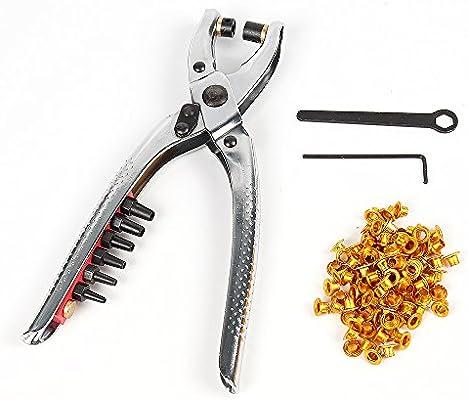 Remaches con perforadora de papel mano alicates cinturón agujeros Perforación alicates agujero alicates herramienta fácil de prensa ojales ojales
