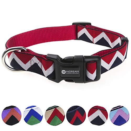 (Rainbow Classical Dog Collar (M, Red)United State Flag Color Design, M Size 14