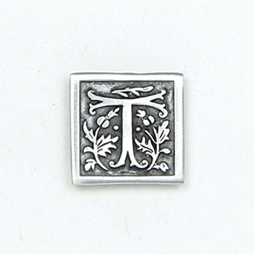 Letter '' T '' Initial Pin - Magnetic Back Closure - No holes in Clothes - Handcrafted Pewter Made in USA - Antique Finished by Lucina K.