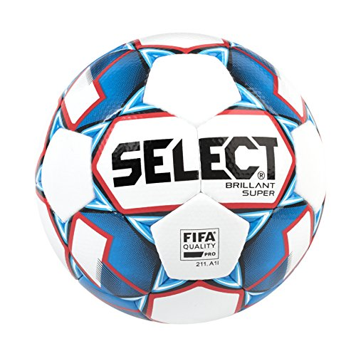 Select Brillant Super Soccer Ball, White/Blue/Red, Size 5 from Select