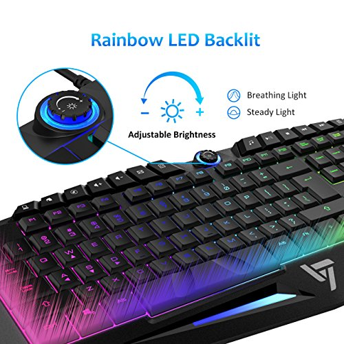 51ACxsC7qSL - VicTsing Rainbow LED Wired Gaming Keyboard¡­