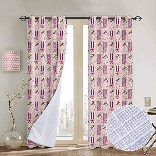 NUOMANAN Blackout Curtains Rabbit,Hand Drawn Style Bunny Characters with Long Ears and Carrots Cartoon Style for Kids, Multicolor,Insulating Room Darkening Blackout Drapes for Bedroom 52