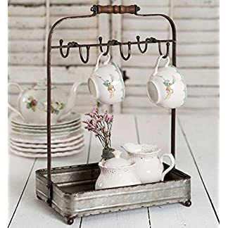 Vintage Rustic Galvanized Tabletop Mug Rack Tea Cup Hook basket Jewelry display