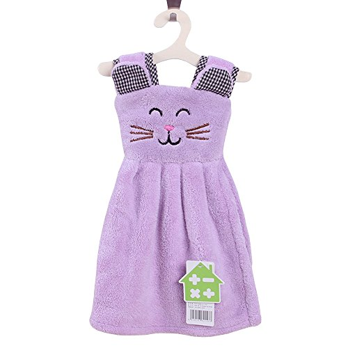 Zhenxinmei Multipurpose Coral Fleece Cleaning Cloth Cute Small Cat Skirt Hand Towel Durable Strong Absorbent Kitchen Dishcloth Eco-Friendly Not Lose Hair Home Duster Cloth 11x14 inch (light (Thousand Hands Costume)