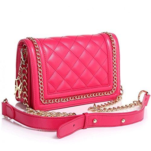 The Tanya Royal BlueBlack Hot PinkWhite Nappa Leather Handbag by Greg Michaels (Hot Pink)