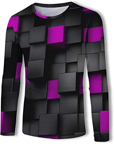 Camisetas Patrón De Estampado A Cuadros 3D De Manga Larga con Cuello Redondo para Hombre Unisex: Amazon.es: Ropa y accesorios