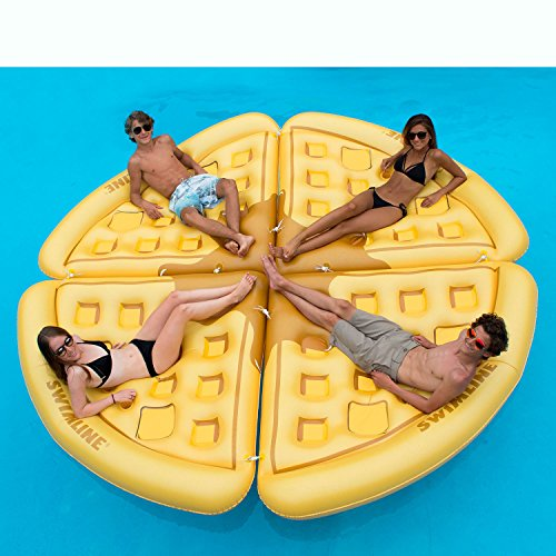 Swimline Inflatable Waffle Slice Floating Lounger Raft Mat for Swimming Pool