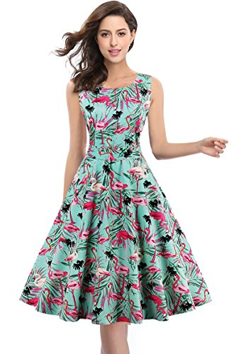 Kimring Women's 1950's Vintage Floral Print Casual Cocktail Party Swing Dress Verde
