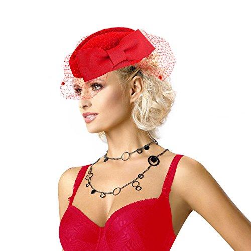(Lady Womens Dress Fascinator Wool Felt Pillbox Hat Party Wedding Bow Veil A082 (Red))