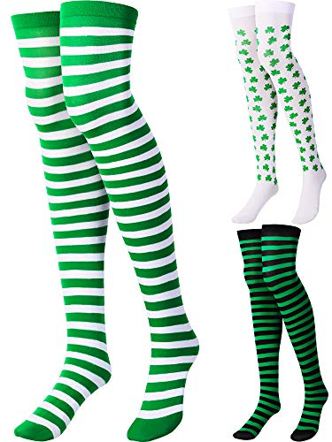 3 Pairs Thigh High Socks Striped Thigh Stockings for Halloween,Chritsmas,Ireland (Style 1)