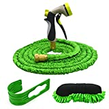 Lawn Plant Garden Hose,CarBoss Expandable and Flexible Hose,4in1 Full Car/Pet Washing Hose Set with 7-way Spray Nozzle and Brass Connector+Car Wash Sponge Pad+Hook for Easy Home Storage(Green,50 Ft)