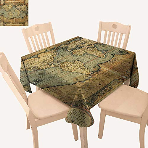 (Angoueleven World Map Table Cover Ancient Old Chart Vintage Reproduction of 16th Century Atlas Print Kitchen Table Cover Sand Brown Slate Blue W 36