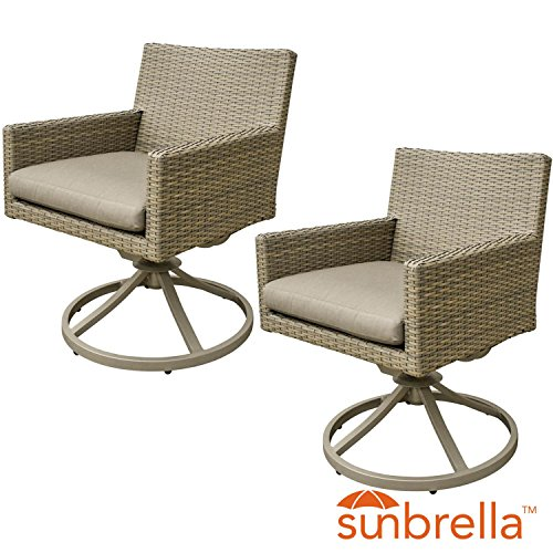 Lakeview Outdoor Designs Lafitte 2 Piece Wicker Patio Swivel Rocker Set W/Sunbrella Canvas Taupe Cushion By Swivel Dining Chair Cushion Canvas