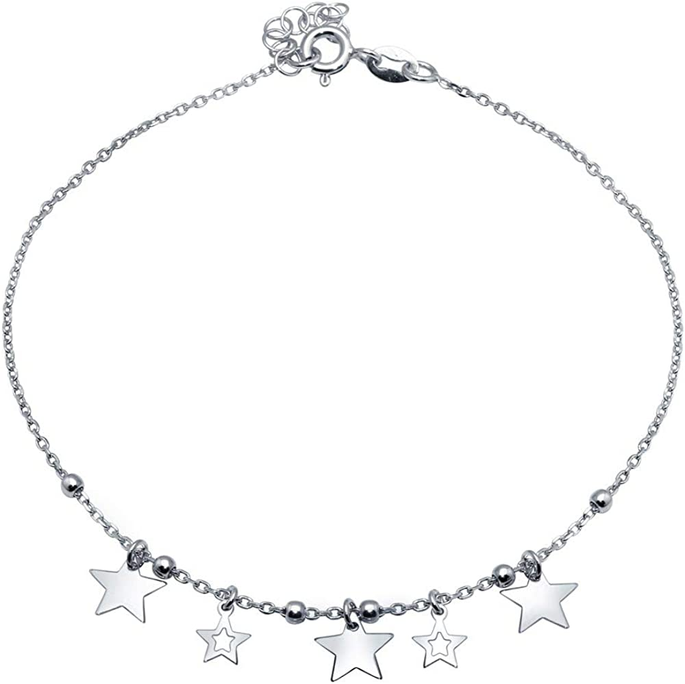 Princess Kylie Rhodium Plated Sterling Silver Open Heart Charm Anklet