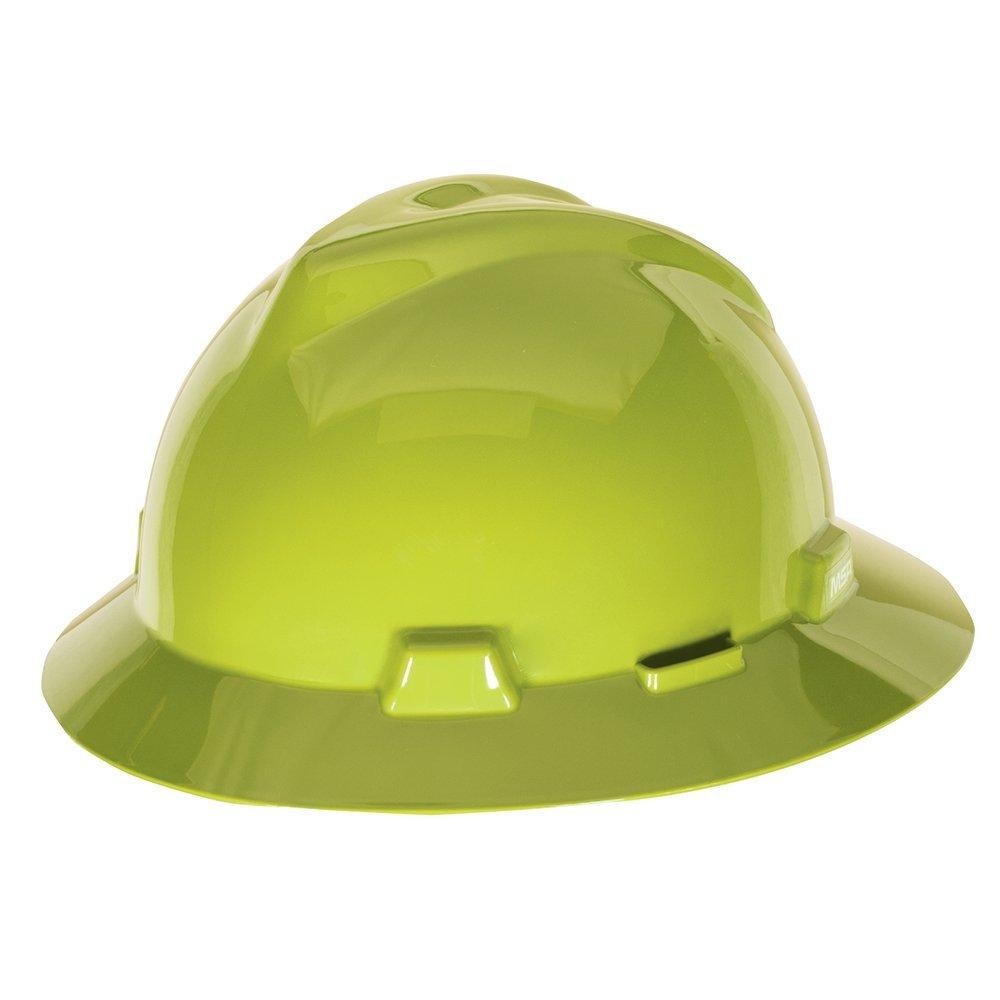 MSA 10061515 V-Gard Slotted Full-Brim Hard Hat, with 4-Point Fas-Trac III Suspension, HI-Viz, Yellow/Green