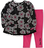 Calvin Klein Baby Chiffon 2 Piece Tunic/Leggings Set, Black/Pink, 0/3 Months