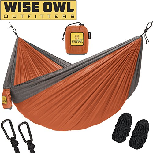 Hammock for Camping Single & Double Hammocks - Top Rated Best Quality Gear For The Outdoors Backpacking Survival or Travel - Portable Lightweight Parachute Nylon SO Orange & Grey (Gadget Portable)
