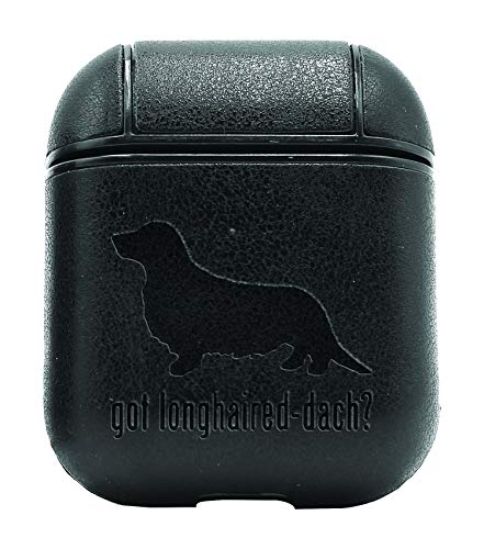 Animal GOT LONGHAIRED Dachshund Dog (Vintage Black) Air Pods Protective Leather Case Cover - a New Class of Luxury to Your AirPods - Premium PU Leather and Handmade exquisitely by Master Craftsmen