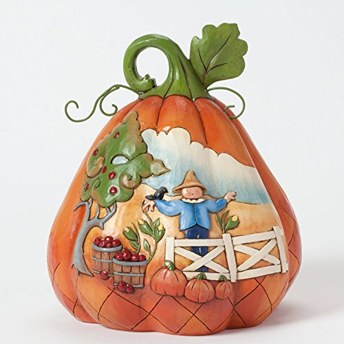Jim Shore for Enesco Heartwood Creek Two-Sided Pumpkin Figurine, 8-Inch