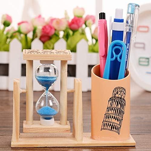 Schreibwarenbox, Farbe Rotating Sandfilter-Feder-Behälter-Karikatur-Muster Treibsand aus Holz Sanduhr Dekoration Students Ferien Geburtstags-Geschenk