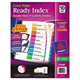 Extra-Wide Ready Index Table of Contents Dividers, Multicolor, 10-Tab, 9 1/2x11, Sold as 10 Each