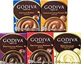 Variety Pack of 5 - Godiva Chocolate Instant Pudding Mix -