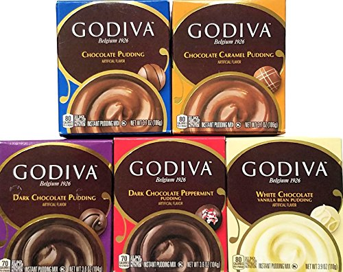 Price comparison product image Variety Pack of 5 - Godiva Chocolate Instant Pudding Mix