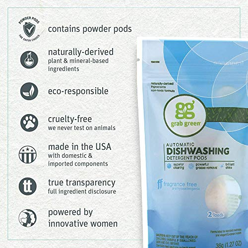 Grab Green Natural Automatic Dishwashing Detergent Pods, Fragrance Free, 2 Loads, 250 Count Hospitality Size by Grab Green (Image #2)
