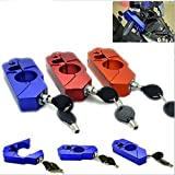 Lisyline Motorcycle Grip Lock Handlebar Grip Throttle Brake Lever Lock Anit Theft Security Caps Lock(blue)