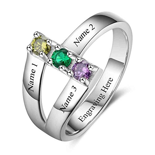 Lam Hub Fong Personalized Sterling Silver Ring for Women 3 Birthstone Rings Customized 925 Silver Family Mothers (Mothers Day Birthstone Rings)