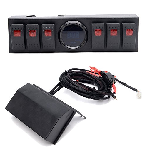 UNI-Balance Jeep Wrangler Switch Panel with 6 Rocker Switch Control and Source System Assemblies for 2007~2017 Jeep Wrangler JK Rubicon Sahara Sport 2Door&Unlimited 4Door