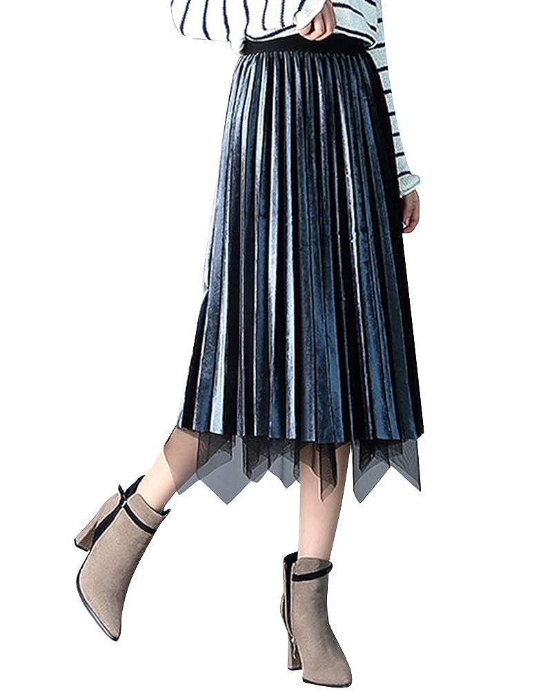 42e49d557c9e Femme Jupe Patineuse Taille Haute Mi Longue Chic Réversible Midi Jupes  Plissée