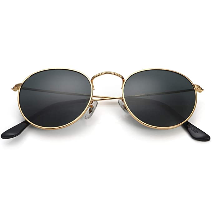 84115501d Small Round Vintage Mirror Lenses UV Protection Unisex Sunglasses by HMIAO (Gold  Frame, Black
