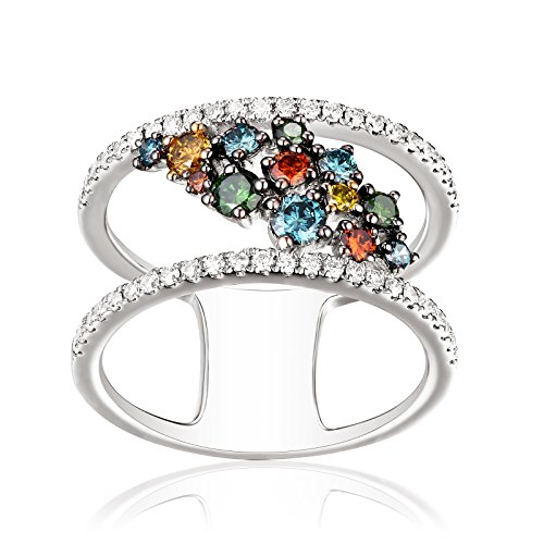 Brand New 0.90Ct Multi Color Diamond With G-H/SI1 Diamond Stylist Ring, 10k White Gold Size 8 by Prism Jewel