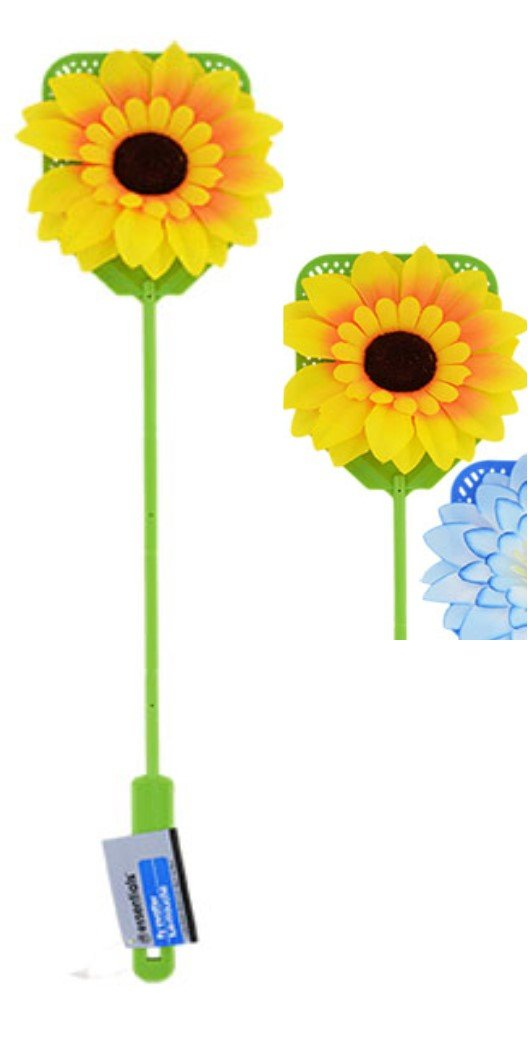Spring Summer Plastic Fly Swatters with Flower Embellishments SunFlower GREEN