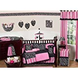 Sweet Jojo Designs Hot Pink and Black Madison Boutique Baby Girl Bedding 9pc Crib Set