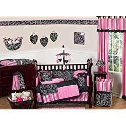 Sweet Jojo Designs Hot Pink, White and Black Madison Boutique Baby Girl Bedding 9pc Crib Set